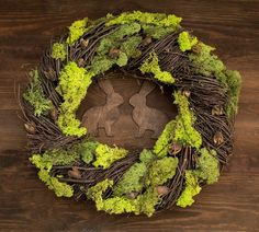 Rustic Easter wreath - Home decor spring door wreaths decorations green moss wood country woodland rabbit bunny Ready to ship Spring Door Wreaths, Easter Wreaths, Deco Mesh Wreaths, Diy Osterschmuck, Moss Wreath, Diy Easter Decorations, How To Make Wreaths, Wreath Ideas, Hello Spring