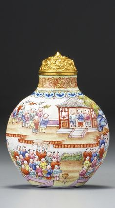 An Imperial Canton enamel 'Hundred Boys' snuff bottle, Seal mark and period of Jiaqing. Photo courtesy Sotheby's