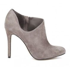 Grey Suede Bootie. I want to paint something on this! Maybe a single red poppy!
