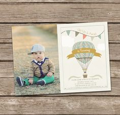 Birthday Invitation : Hot Air Balloon Boy Birthday Invitation, First Birthday Invitation, Up Up and Away, Boy Birthday Invitation by deanworks on Etsy https://www.etsy.com/listing/182767466/birthday-invitation-hot-air-balloon-boy
