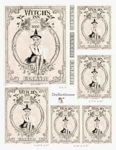 Free 6 Large Halloween Apothecary Labels Sexy Pin up The Witch's ...