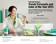 PANTONE Webinar: Trend Forecasts and Color of the Year 2013