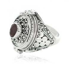 Sterling Silver Balinese Bead and Dot Genuine Garnet Designer Poison Ring 8 >>> For more information, visit image link.Note:It is affiliate link to Amazon.
