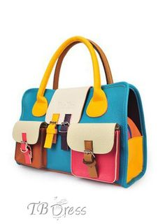 Soft Retro Color Block Women's Tote Bag
