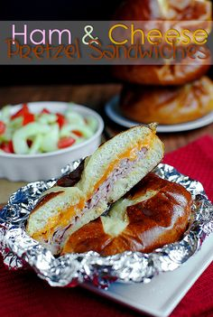Ham and Cheese Pretzel Sandwiches via Iowa Girl eats. I love her!!!