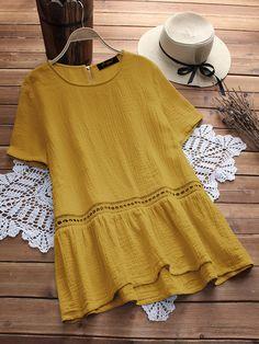 Plus Size Women Short Sleeves Patchwork Cotton Blouse - Banggood Mobile Cheap Blouses, Blouses For Women, Cotton Blouses, Shirt Blouses, Female Shorts, Pantalon Large, Linen Blouse, Linen Shirts, Blouse Vintage
