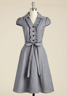 About the Artist A-Line Dress in Grey - Grey, Solid, Buttons, Ruffles, Shirt Dress, Belted, Cotton, Best Seller, Collared, Work, Variation, 50s, Full-Size Run, Long, Woven, Rockabilly, Vintage Inspired, Scholastic/Collegiate, Short Sleeves, Better, Fit & Flare, Americana, 40s, A-line, Spring, Summer, Fall, Winter