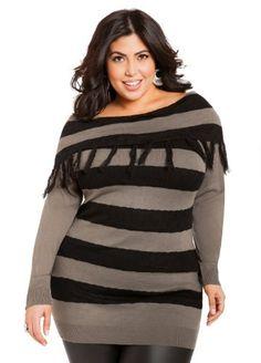 fd6ef8338f4 Ashley Stewart Women s Plus Size Fringe Fold Over Sweater Grey Gables 12  Ashley Stewart