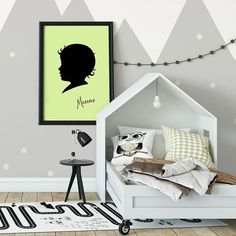 Silhouette art is a classic - but it definitely has a place in modern decor.  Make it really pop with a solid, bold color as the background.  And of course, it's completed with name personalization! #customsilhouette #kidsroomdecor #childrensilhouette Nursery Room Decor, Boys Room Decor, Home Decor Bedroom, Boy Room, Kids Name Art, Art Wall Kids, Wall Art, Boys Room Colors, Kids Silhouette