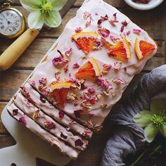 Rose Cardamom and Blood Orange Loaf Cake - Homegrown Provisions How To Make Cake, Food To Make, Orange Glaze Recipes, Cardamom Cake, Orange Frosting, Blood Orange Juice, Speed Foods, Vegan Cream Cheese, Loaf Cake