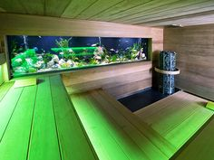 Sauna with green lighting and a fish tank!
