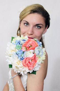 Blue and Coral Rose, Anemone and Hydrangea Silk Bouquet on Etsy, $67.75 CAD