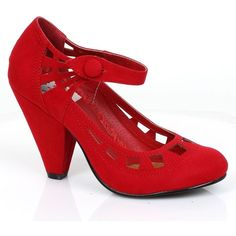 Retro Style Red Microsuede Everly Pumps ($88) ❤ liked on Polyvore featuring shoes, pumps, high heel shoes, retro shoes, synthetic shoes, retro inspired shoes and retro pumps