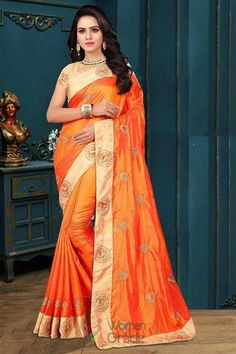 4cd2707180 Raise your style attitude in this net saree. A Perfect outfit for Bollywood  Style wedding attire. WomenOracle