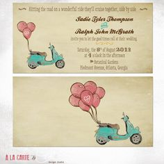 25 Printed Wedding Invitation Cards  - Romantic Scooter Ride. $69.00, via Etsy.