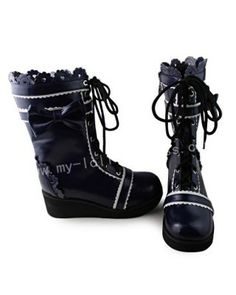 Beautiful Navy Blue& White Boots #Lolita #Boots