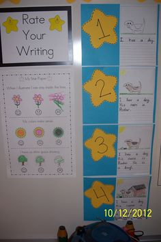 writing and coloring rubric. Good idea to keep it up for the whole class to see & it won't get lost in those messy desks like it would if it was on paper.