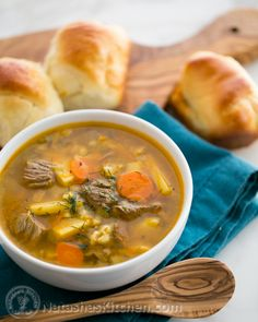 Russian Beef, Barley and Pickle Soup (Rassolnik)