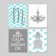 Teen Girl Bedroom Decor Teen Room Decor Teen Bedroom Art Teen Decor Teal Room Decor Tween Girl Room Decor - Set of 4 Teen Prints or Canvas Bedroom Decor For Teen Girls, Teen Room Decor, Girl Room, Girl Rooms, Room Girls