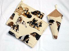 Cute, practical and useful... Potholders and Scissor Holder dogs on them in tan by sewinggranny, $11.00