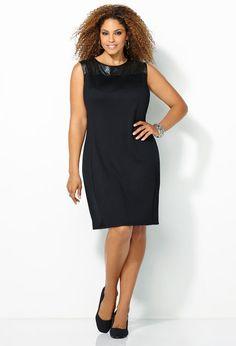 Pleather Lasercut Ponte Dress-Plus Size Black Dress-Avenue