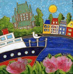En croisière à Québec par Isabelle Malo • Acrylique sur toile et collage • Mixed media • Folk art  • www.isamalo.com • Artiste peintre du Québec •Art naïf
