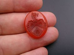 Awfully cute squirrel.  There must be acorn there somewhere... 19th century carved carnelian wax seal unmounted coat of arms.