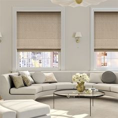 Terrific No Cost Roller Blinds living room Concepts Buying roller blinds ? Then you might be trying to find expert guidance. in the end, when decorating a room, your mind i Living Room Roman Blinds, Living Rooms, Curtains Living, Living Area, Grey Kitchen Blinds, Roman Curtains, Bedroom Curtains, Bedroom Carpet, Houses