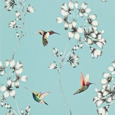 A beautiful wallpaper design of etched trailing flowers with vivid coloured amazilia hummingbirds.