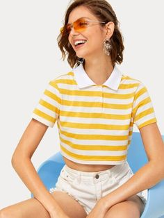 To find out about the Striped Double Button Polo Neck Crop Tee at SHEIN, part of our latest T-Shirts ready to shop online today! Tee Courts, Top Transparent, Romwe, T Shirt Court, T Shirt Long, Fashion News, Fashion Outfits, Latest T Shirt, Camisa Polo