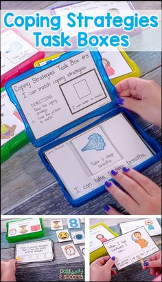 Coping strategies task boxes are the perfect way to teach social emotional skills to kids and young adults. Kids open up a task box and complete the activity! It's that easy. Best of all, kids will learn how to manage their emotions and handle stress. Social Skills Activities, Teaching Social Skills, Social Emotional Learning, Teaching Tools, Teaching Resources, Classroom Behavior, Special Education Classroom, Classroom Ideas, Kindergarten Classroom