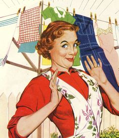 Laundry Day Proud vintage happy housewife illustration Vintage Humor, Retro Humor, Retro Funny, Vintage Posters, Pop Art Vintage, Images Vintage, Vintage Housewife, 1950s Housewife, Housewife Meme