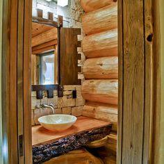Log House Design - powder room