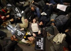 Protesters in New York who are opposed to the police killing of Eric Garner