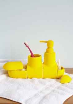 Up Peri-soap Bathroom Organizer Set. Youll be right on mari-time to meet your mates, after diving into your primping regimen with this cute submarine-inspired bathroom organizer! #yellow #modcloth