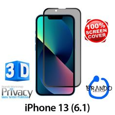 Brando Workshop Full Screen Coverage Curved Privacy Glass Screen Protector (iPhone 13 (6.1)) - Black