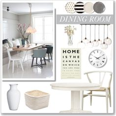 Dining Room Decor by monmondefou on Polyvore featuring interior, interiors, interior design, hogar, home decor, interior decorating, Redford House, Baxton Studio, West Elm and Ulster Weavers