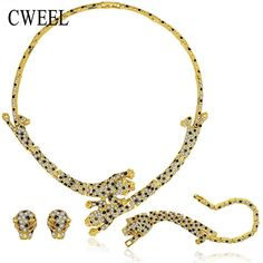 CWEEL Jewelry Set For Women Wedding Fashion Leopard Imitation Crystal Gold Color Necklace Earrings Bracelet Rings Accessories