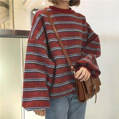 Next Post Previous Post Vintage retro wool knit stripes oversized o-neck  sweaters Vintage rot gestreifter Pullover 2c81e3651c68