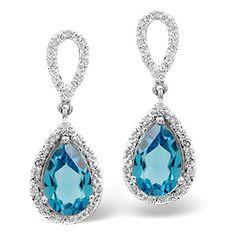 Blue Topaz 3.26CT And Diamond 9K White Gold Earrings - Item H4252. #thediamondstoreuk #bluetopazearrings #bluetopaz #earrings #whitegold #diamonds #jewellery