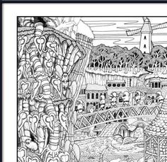 Wildergorn, colour in posters, colouring posters, coloring posters, colouring, color in, coloring, coloring, coloring, poster art, doodle, felt-tip pens, brush pens, gel pens, Stabilo, Lord of the Rings, J R R Tolkien, M C Escher, Harry Potter, Narnia, Discworld, Fantasy world, Jamie Courtier, Jim Henson's Creature Shop, Vicky Kimm, UK, www.wildergorn.com,