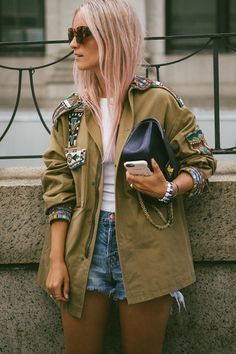 Jacket: tumblr embellished embellished green top white top denim shorts shorts blue shorts