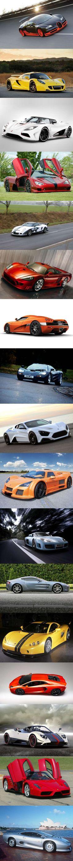 Bugatti Veyron Super Sport, Hennessey Venom GT, Koenigsegg Agera R, SSC Ultimate Aero, 9ff GT9-R, Saleen S7 Twin-Turbo, Koenigsegg CCX, McLaren F1, Zenvo ST1, Gumpert Apollo, Noble M600, Aston Martin One-77, Ascari A10, Lamborghini Aventador, Pagani Zonda Cinque Roadster, Ferrari Enzo, Jaguar XJ220