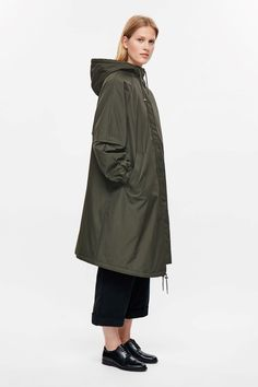 COS image 2 of Oversized cotton parka in Khaki Green