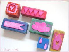 Stempels maken van blokje hout en stukje foam