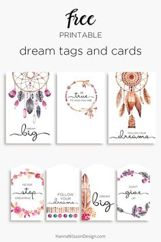 Dreamcatcher tags and cards | #freeprintables #dreamcatcher #printablecards #printabletags #papercraft