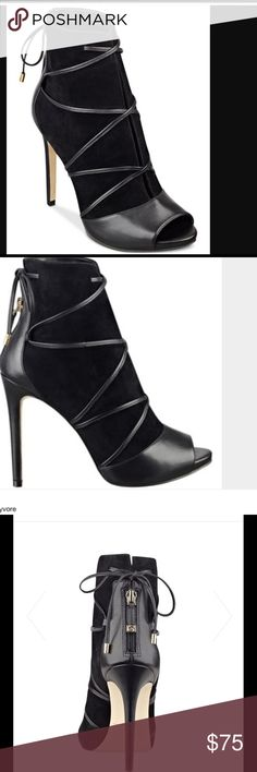 """GUESS BOOTIES Guess suede booties bring lace-up styling and a mixed media design together to give you a bold look, day or night. Round peep-toe lace-up booties. Zipper closure at back. 1/2"""" platform, 4-1/4"""" wrapped heel. GUESS Shoes Ankle Boots & Booties"""
