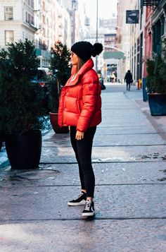 How To Style A Red Puffer Coat: Daytime Casual redpuffercoat Bright Winter Outfits, Winter Dress Outfits, Bubble Jacket Outfit Winter, Red Coat Outfit, Coat Dress, Puffer Jackets, Winter Jackets, Red Jackets, Red Puffer Coat