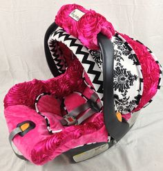 Satin Rosette Infant Car Seat Replacement Cover You Choose Colors
