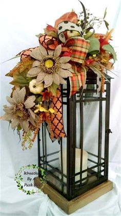 Fall Lantern Swag with 2 large burlap sunflowers sprays with white pumpkins, a brown glitter pumpkin, yellow & orange filler flowers, berries,